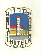 ETIQUETTE HOTEL ASHKELON ISRAEL PUBLICITE - Hotel Labels