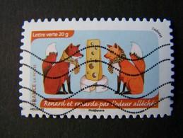 OBLITERE ANNEE 2014 N°1040 RENARD ET RENARDE PAR L´ODEUR ALLECHEE DU CARNET L´ODORAT AUTOCOLLANT ADHESIF - France