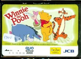 Carte Prépayée Japon * Ourson WINNIE POOH * Cochon Ane Tigre  (1300)  Banque JCB * Japan Prepaid Card Quo Karte CINEMA - Disney