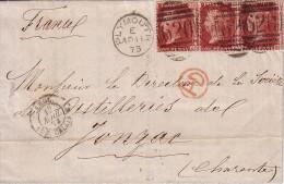 GRANDE BRETAGNE - PLYMOUTH - 11-4-1873 - AFFRANCHISSEMENT AVEC 3 X 1P ROUGE POUR LA FRANCE - 1840-1901 (Regina Victoria)