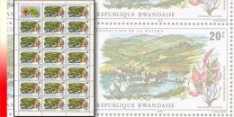 Rwanda 0682**  20c  Protection de la nature -  Feuille / Sheet de 20 MNH
