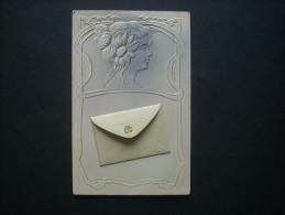 Visage De Femme Et Enveloppe - Carte Gaufrée Monochrome Art Nouveau Non Circulée L188B - Fantasie