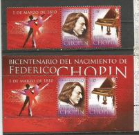 URUGUAY. Bicentenaire De La Naissance De Frederic Chopin.  Un Bloc-feuillet + La Série. Neufs **  Côte 20,00 € - Música