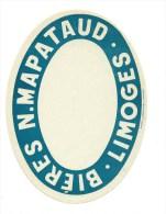 Ancienne étiquette Bière France: Narcisse Mapataud Limoges  Bière - Bière