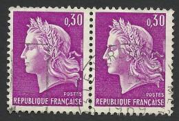 France, 30 C. 1967, Sc # 1198, Mi # 1603, Used Pair. - 1967-70 Marianne Of Cheffer