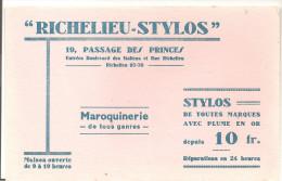 Buvard Richelieu-Stylos 19, Passages Des Princes Entrées Boulevard Des Italiens Maroquinerie De Tous Genres - Papeterie