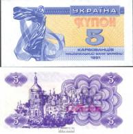 Ukraine 83a Bankfrisch 1991 5 Karbovantsir - Ukraine