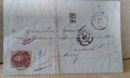 Lettre de Jemmapes vers Nancy . Cachets multiples . Charbonnages du levant du Fl�nu .08-05-1863 .