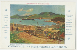 Mayotte Le Djemnah En Rade Art Card Maurice Levis Pub Messageries Maritimes MM Shipping - Mayotte