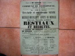 NOORDPEENE FERME DU CHATEAU VENTE LE 26 JUILLET 1880 BESTIAUX ET RECOLTES CHARROIS USTENSILES ARATOIRES 62cm/43cm TIMBRE