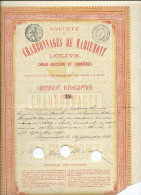 Charbonnages de Mariemont-Certificat d'inscriptionde Louise Orvi!lle,veuve de Arthur Warocqu�.(voir �tat)N� 16.