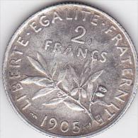 TROISIEME REPUPLIQUE. 2 FRANCS SEMEUSE 1905 .ARGENT