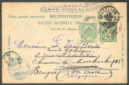 Suisse 5 Centimes Obl. Dc AMBULANT N°23 Sur C.P. Expédiée De SCHWEIZERHOF NEUHAUSEN RHEINFALL (càd Du 9-VIII-1901) + Gri - 1893-1907 Armoiries