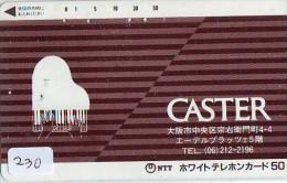 Télécarte Japon * Musique * PIANO * (230) Japan Music Phonecard * KLAVIER Musik Telefonkarte * - Música