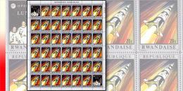 Rwanda 0384**  20c  Apollo 13 vers la lune - Feuille / Sheet de 40 MNH + 2 labels