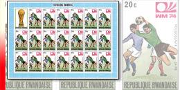 Rwanda 0578**  20c  Coupe du Monde de football � Munich -  Feuille / Sheet de 20 MNH + Label