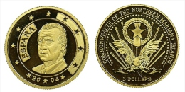"EXTREMELY RARE!!!!  Islas Marianas 5 Dolares 2.004 Oro/Gold    Proof    ""España""   SC/UNC     DL-11.266 - Monnaies"