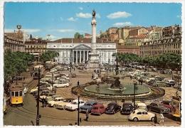 CPSM Portugal LISBONNE LISBOA Plaça D Pedro IV Voitures Volswagen Aronde Tampon Hotel TIVOLI 1966 - Lisboa