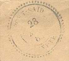 EGYPTE PORT SAID Enveloppe Tad 24 PORT SAID EGYPTE 25mm Sur N° 92 25 C Sage(def) Du 28/05/1884 B/TB Ind19 - Égypte