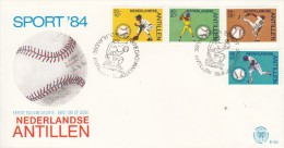 BASEBALL, Netherlands Antilles, 1984, FDC / Special Postmark !! - Baseball