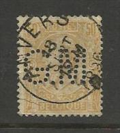 """BELGIQUE , BELGIE ; Perforé , Perfin ; """" G.M. """" , 50 C , Léopold II , 1884 -1891 , N° YT 50 - Perforés"""