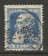 """BELGIQUE , BELGIE ; Perforé , Perfin ; """" BP """" , 25 C , Léopold II , 1905 , N° YT 76 - Perforés"""