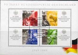 50 Jahre BRD 1999 Deutschland Block 49 O 9€ Parlament Kind 1945 Bau Und Fall Der Mauer Berlin NATO KSZE Sheet Bf Germany - [7] République Fédérale