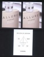 3 X Singapore Perfume Cards Carte Parfumee -- CHANEL ALLURE HOMME EDITION BLANCHE - Cartes Parfumées