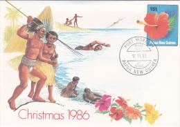 Papua New Guinea  1986 Christmas Prepaid Envelope  N 09 FDC - Papua New Guinea