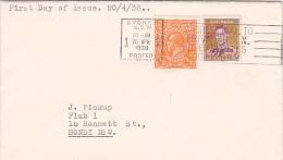 Australia 1938 King George VI 3 Pence Brown  FDC - FDC
