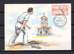 """FRANCE 1958 : Carte Maximum """" JEU DE BOULES PETANQUE """". Oblitération De Valence 26/4/58 N° YT 1161. En Parfait état. CM"""