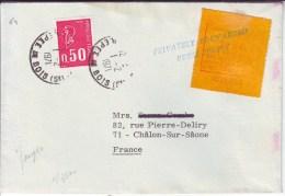 GREVE DES POSTES De 1971 , Lettre De JERSEY Avec Rare Timbre De Greve , Obl PRIVATELY FORWARDED  , Pour Chalon Sur Saone - Postmark Collection (Covers)