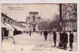 BERGAMO SENTIERONE E CHIESA DI S. BARTOLOMEO ANIMATISSIMA VIAGGIATA IL 31/8/1905 SCANSIONE FRONTE RETRO - Bergamo