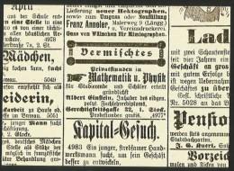 ALBERT EINSTEIN Inserat Im Anzeiger Stadt Bern 1902 Privatstunden In Mathematik U. Physik Einstein-Gesellschaft - Personnages Historiques