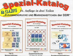 Zusammendrucke Markenhefte Und SMH Katalog 1-3 DDR 2015 New 75€ RICHTER Se-tenant + Booklet Special Catalogue Of Germany - Literatura