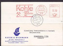 "Germany Bundespost KAVEN & WICHMANN Slogan ""Kohle, Coal"" 1967 Meter Card Freistempel Karte GLAMSBJERG Denmark (2 Scans) - [7] Repubblica Federale"