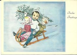 FROHE FESTTAGE  Bambini Sulla Neve Con Slittino  Portano L' Abete Di Natale  Arnulf  Svizzera Suisse - Anno Nuovo