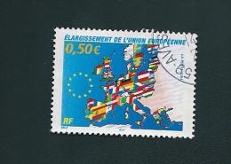 3666 Carte Avec Drapeaux Des Pays Membres étoilés Européennes France   Oblitéré 2004 - France