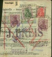 Lovely Franking On Paketkarte Trossingen To Vienna 1921 - Österreich Portomarken On Reverse. - Germany