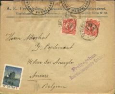 10 öre X 2 On Cover To Antwerp 1917 - Freigegeben Überwach. Hamburg + Closed With Censorlabel Hamburg 1. - 1910-1920 Gustaf V