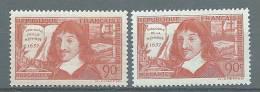 """FR YT 341 & 342 """" Descartes : Discours De Et Sur La Méthode """" 1937 Neuf* - Unused Stamps"""