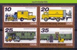 Mwm093 TRANSPORT TREIN VRACHTWAGEN HEFTRUCK TRUCK TRAIN POSTFAHRZEUG BAHNPOSTWAGEN DDR 1978 PF/MNH - Transportmiddelen