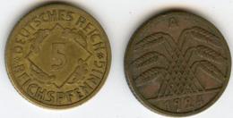 Allemagne Germany 5 Reichspfennig 1924 A J 316 KM 39 - 5 Rentenpfennig & 5 Reichspfennig