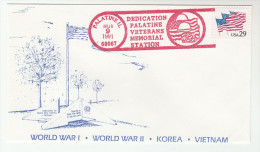1991 PALATINE Illinois VETERANS MEMORIAL DEDICATION COVER  ´WWI WWII KOREA VIETNAM WAR  ´ USA Flag Stamps - WW1