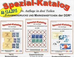 RICHTER DDR-Katalog 2015 Zusammendruck+Markenhefte 1-3 Neu 75€ Zierfelder Se-tenant Booklet Special Catalogue Bf Germany - Littérature