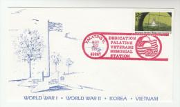 1991 PALATINE Illinois VETERANS MEMORIAL DEDICATION COVER 'WWI WWII KOREA VIETNAM WAR ' USA Ship REUBEN JAMES SUNK Stamp - Militaria