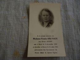 BC9-2-102 Souvenir Elvire ADNET  DELVAUX Bioul 1899 Denée 1965 - Obituary Notices