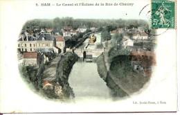 Dpt 80 Ham Le Canal Et L'Ecluse De La Rue De Chauny Colorisée N°2 Lib. Juniet - Sonstige Gemeinden
