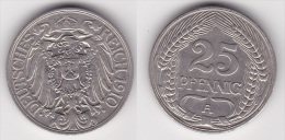ALLEMAGNE : 25 PFENNIG 1910 A Nickel (voir Scan) - 25 Pfennig