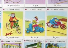 ANCIEN JEU DE CARTES 7 SEPT FAMILLES CITROEN DS ID VELO CYCLISME MAILLOT JAUNE VESPAS HELICO SCOOTER TRAIN SNCF PAQUEBOT - Autres